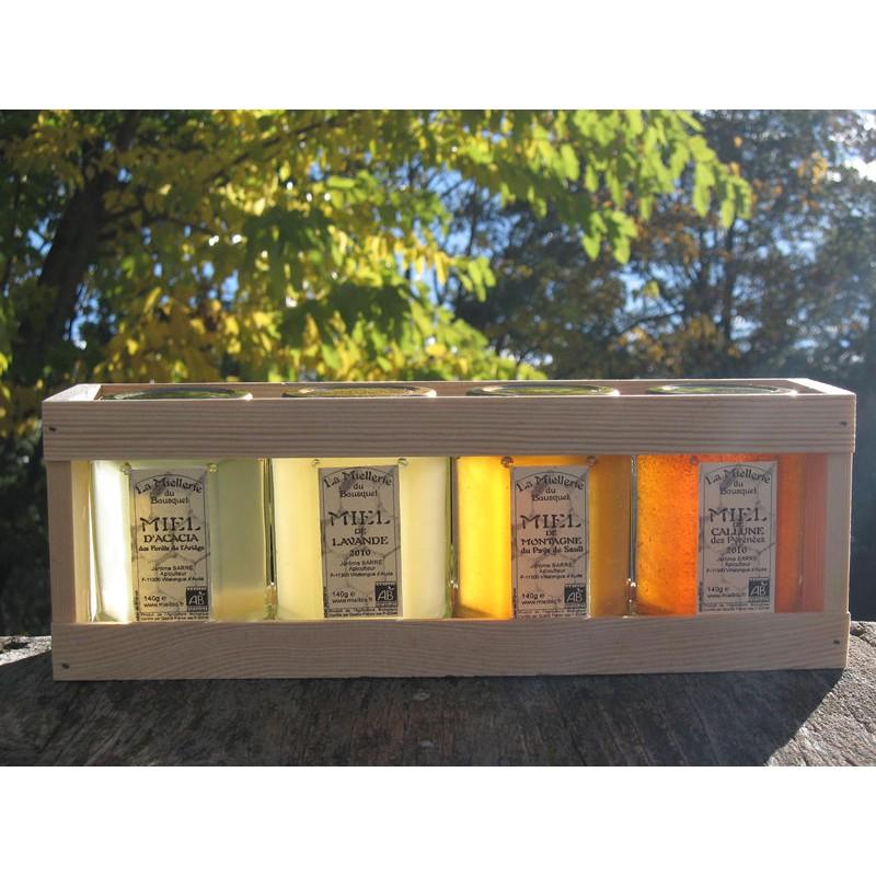 """Coffret cadeau gourmand \""""4 couleurs\"""" 4x140g de Miel Bio"""