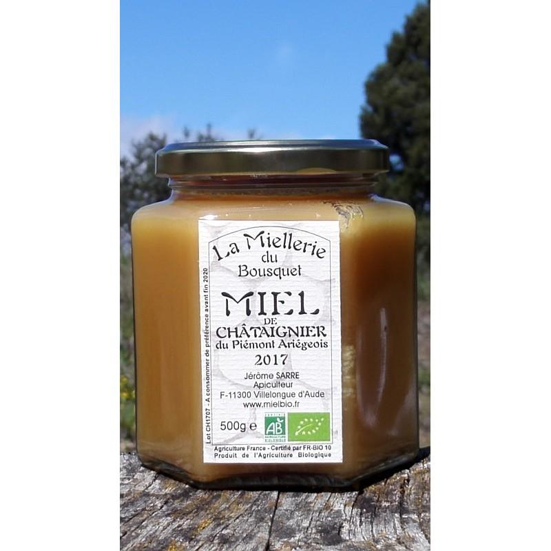 Miel de Châtaignier Bio Ariège 2017 500g. Ce miel est cristallisé.