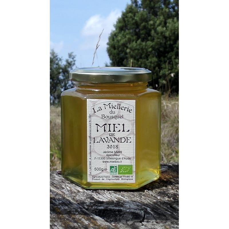 Miel Bio de Lavande 2018 en pot 500g en septembre 2018. Ce miel est maintenant cristallisé (janvier 2019).