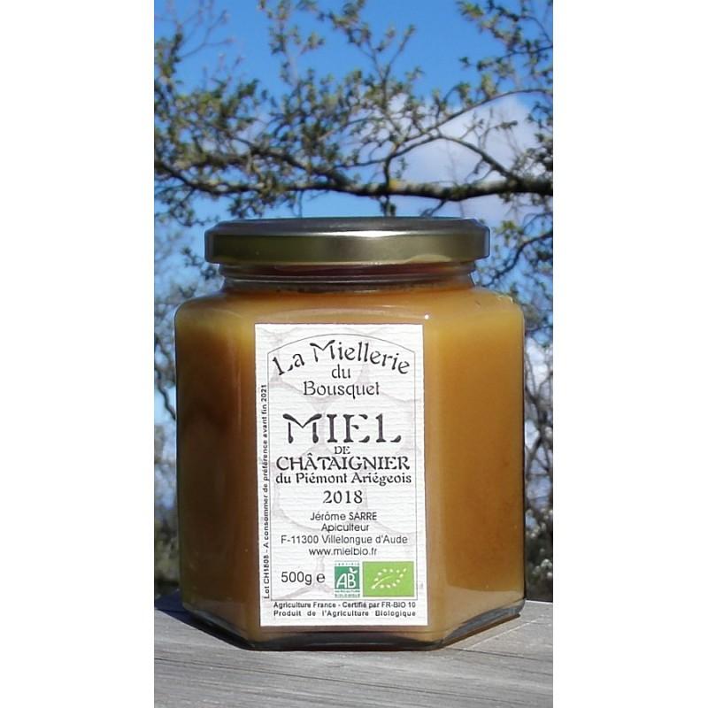 Miel de Châtaignier Bio Ariège 2018. Ce miel est cristallisé, photo mars 2019.