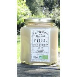 Miel de Rhododendron Bio de Pyrénées. Aspect avril 2020, miel cristallisé.