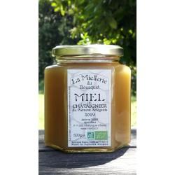 Miel de Châtaignier Bio Ariège. Aspect du miel 2019 en juin 2020, miel cristallisé